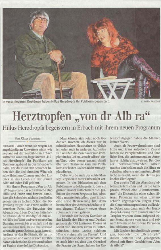 Zeitungsbericht Hillu's Herzdropfa Seebühne, Erbach 30.06.2016 neu