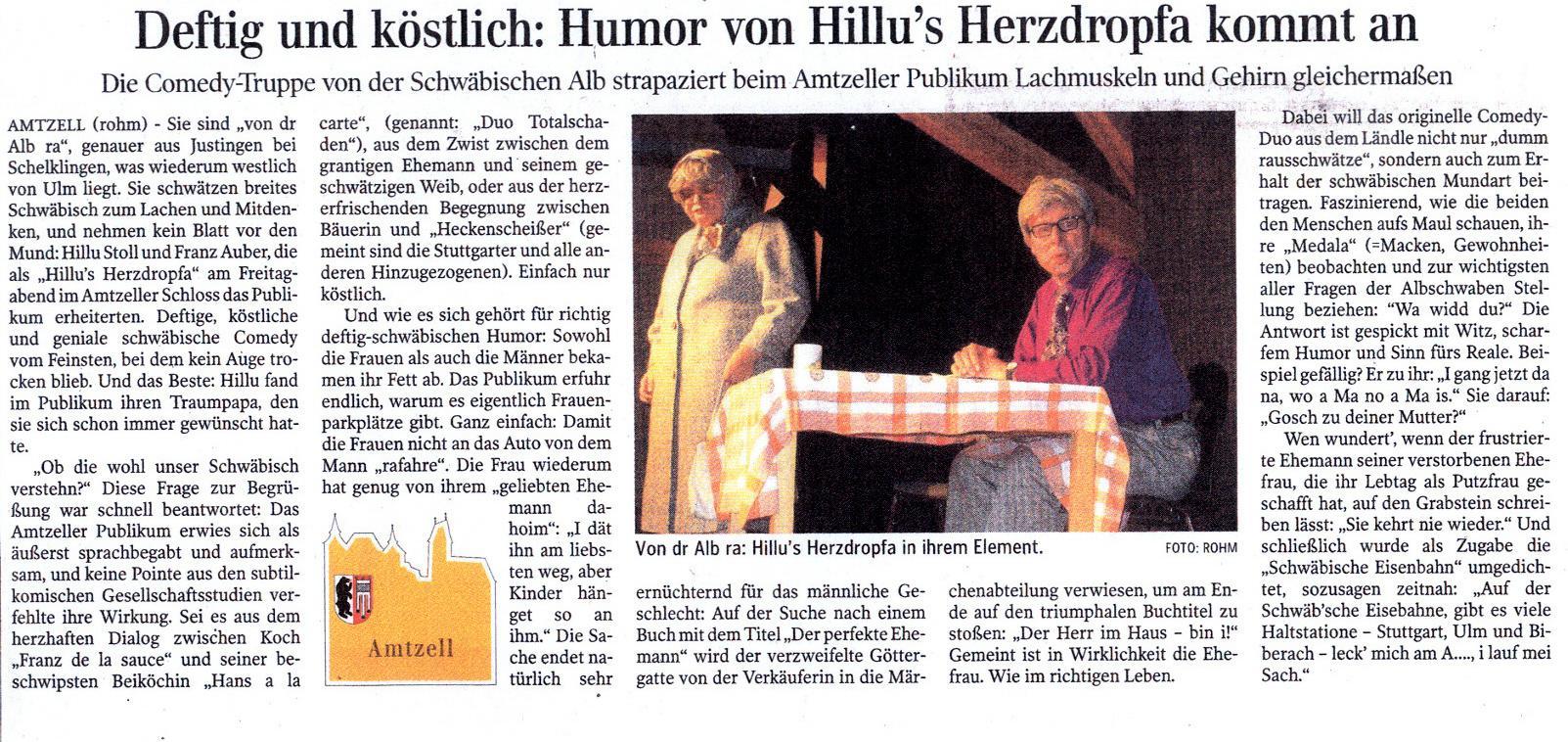 Schwäbische Zeitung Wangen v. 05.11.2012